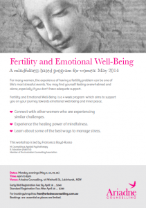 A flyer for Fertility and Emotional Well-Being mindfulness program